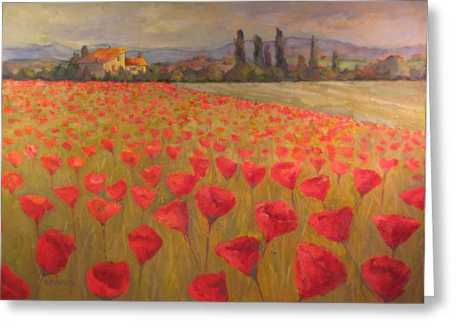 Red Poppy Field Greeting Card by Sam Pearson
