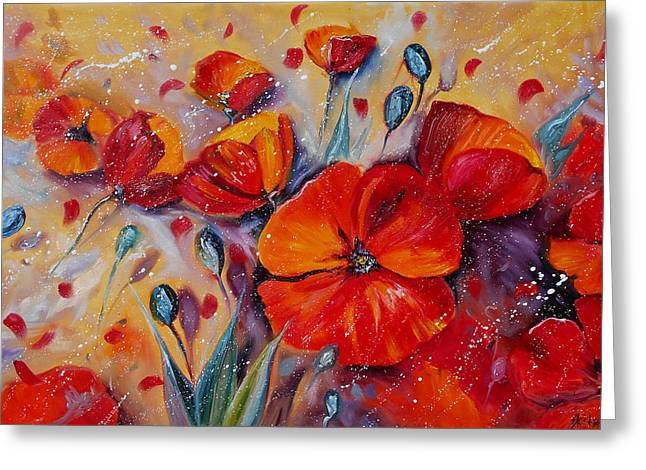 Red Poppy Meadows Greeting Card