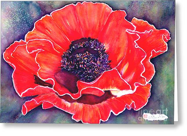 Red Poppy Greeting Card by Norma Boeckler