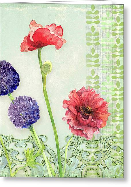 Red Poppy Purple Alium I - Retro Modern Patterns Greeting Card by Audrey Jeanne Roberts