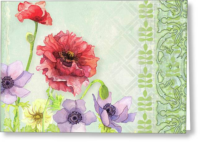 Red Poppy Purple Anenomes Wind Flowers Iv - Retro Modern Patterns Greeting Card by Audrey Jeanne Roberts