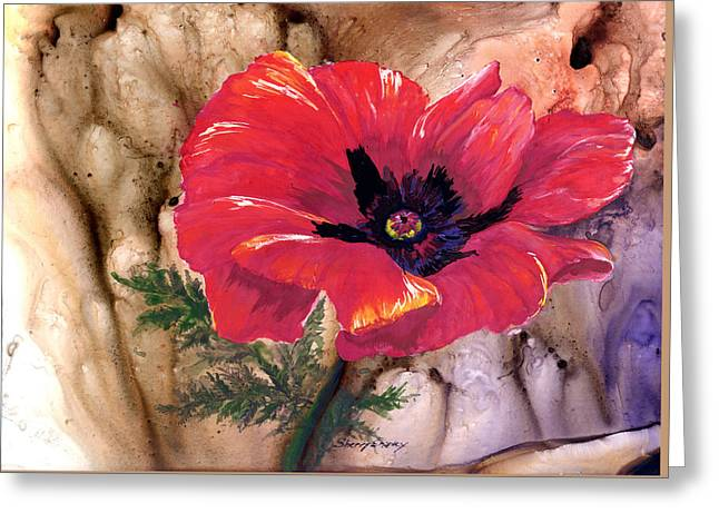 Greeting Card featuring the painting Red Poppy by Sherry Shipley