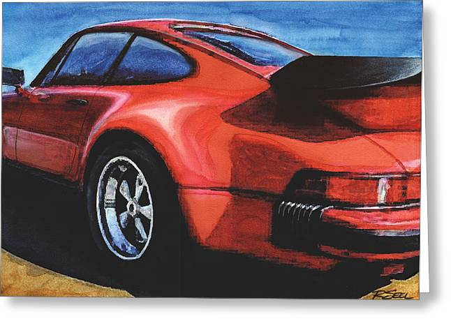 Red Porsche 930 Turbo Greeting Card by Rod Seel