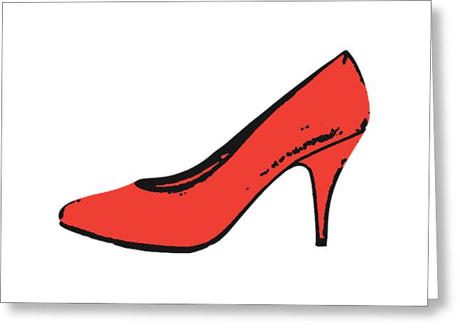 Red Pump Womans Shoe Tee Greeting Card by Edward Fielding
