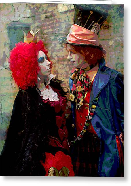 Red Queen And Mad Hatter Greeting Card by Suzanne Powers