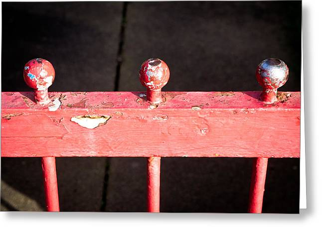 Red Railing Greeting Card by Tom Gowanlock