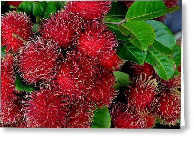 Red Rambutan And Green Leaves Greeting Card by Mary Deal