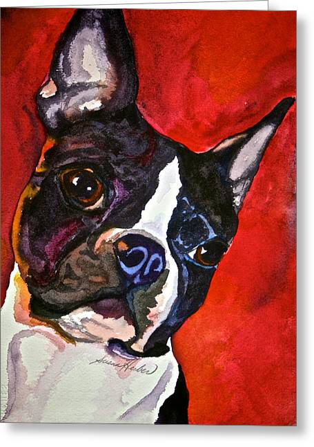 Boston Terrier Watercolor Greeting Cards - Red Rascal Greeting Card by Susan Herber