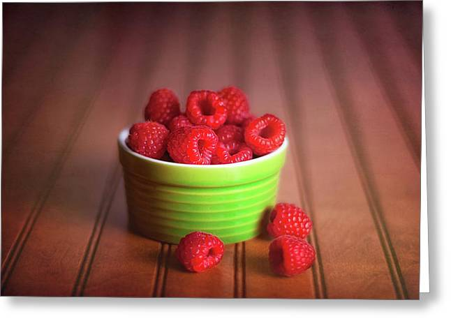 Red Raspberries Still Life Greeting Card