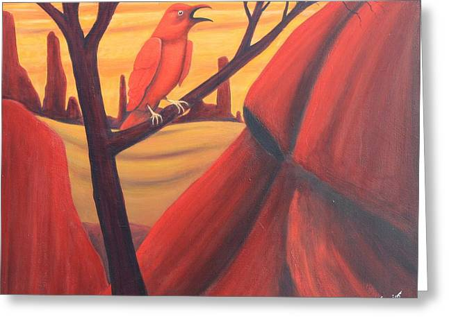 Red Raven Greeting Card by Art Enrico