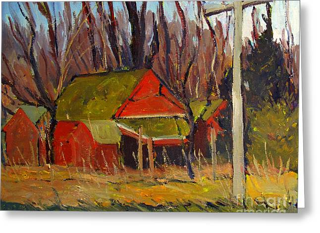 Red Ravens Roost Plein Air Greeting Card by Charlie Spear