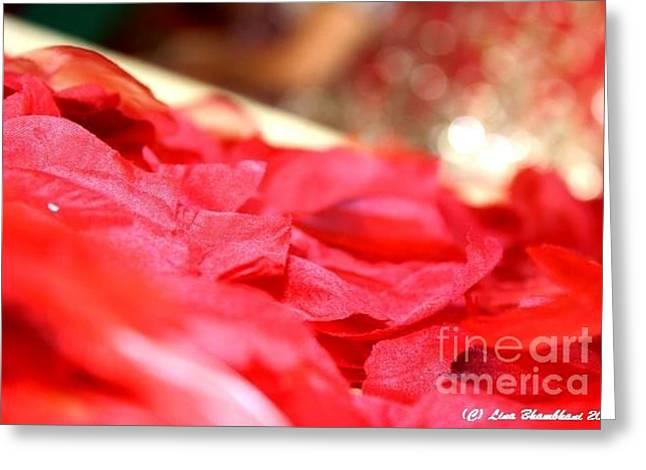 Red-red Rose Petals  Greeting Card