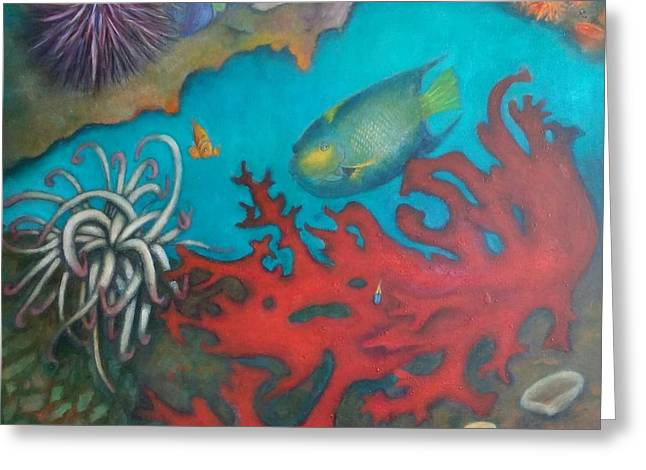 Greeting Card featuring the painting Red Reef by Lynn Buettner