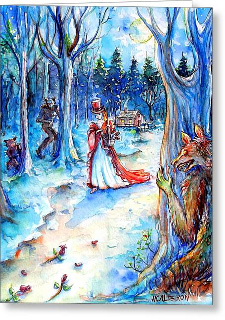 Greeting Card featuring the painting Red Riding Hood And Werewolves by Heather Calderon
