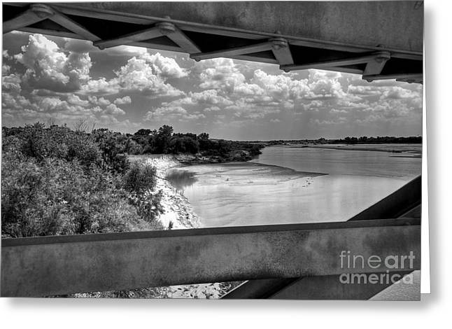 Red River Bridge View Greeting Card