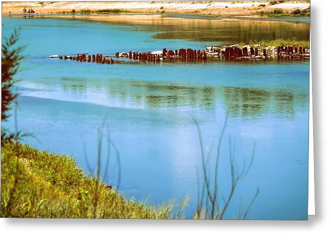 Greeting Card featuring the photograph Red River Crossing Old Bridge by Diana Mary Sharpton