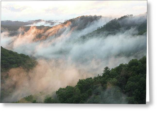 Red River Gorge Kentucky Fog In Mountains At Sunset After A Storm 2 Greeting Card by Design Turnpike
