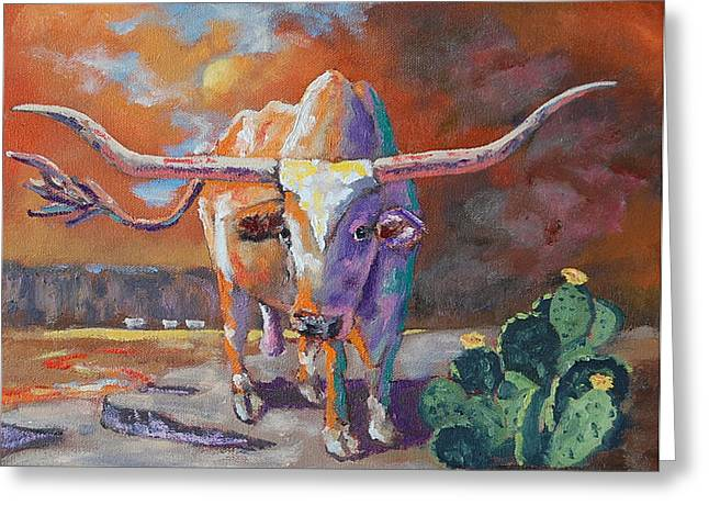 Conestoga Paintings Greeting Cards - Red River Showdown Greeting Card by J P Childress