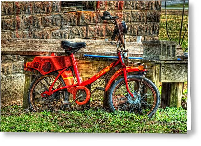 Red Roadmaster Bike Greeting Card by Pamela Baker