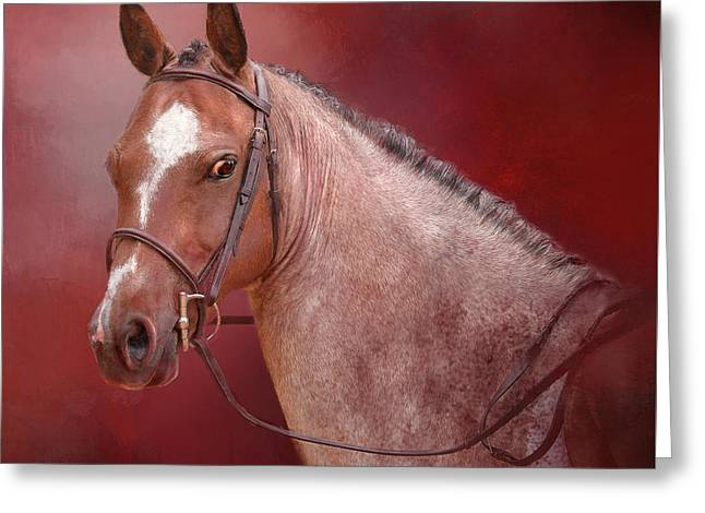 Red Roan Greeting Card by Kathy Russell
