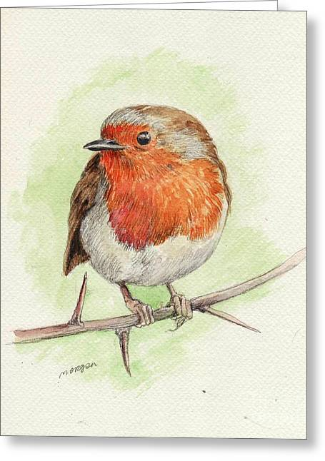 Red Robin Greeting Card by Morgan Fitzsimons