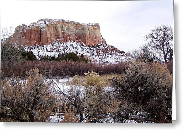 Red Rock Butte In Snow Greeting Card