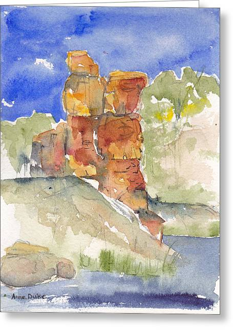 Greeting Card featuring the painting Red Rock  Canyon by Anne Duke