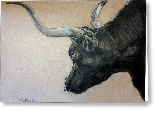 Red Rock Canyon Bull Greeting Card by Derrick Higgins