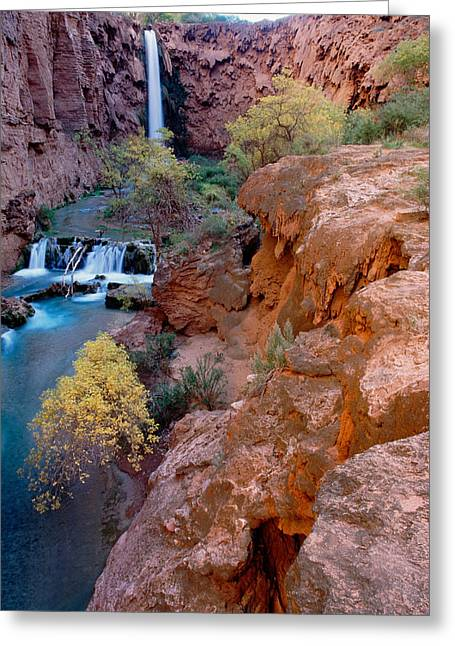 Red Rock Cliffs, Havasu Falls, Grand Greeting Card by Panoramic Images