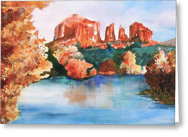 Red Rock Crossing Greeting Card by Sharon Mick