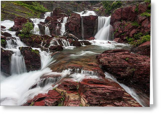 Red Rock Falls Greeting Card by Mark Kiver