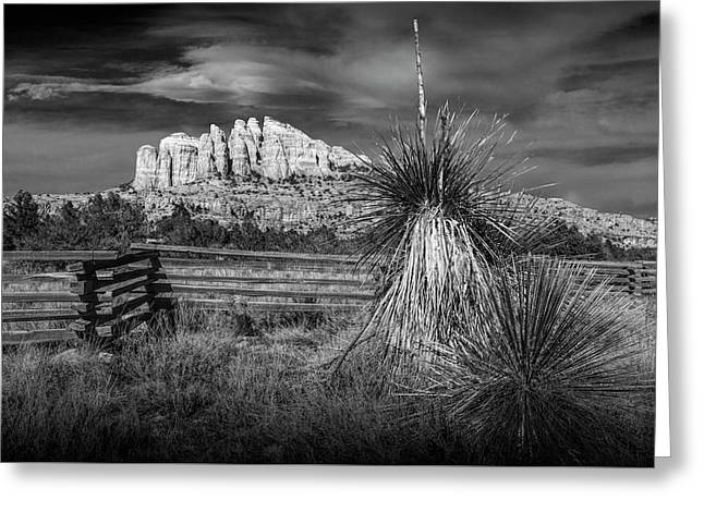 Greeting Card featuring the photograph Red Rock Formation In Sedona Arizona In Black And White by Randall Nyhof