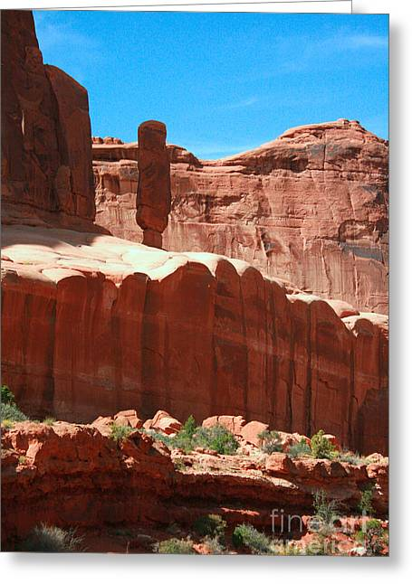 Red Rock Formations Arches National Park Near Moab Utah Usa Greeting Card