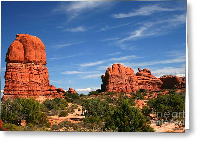 Red Rock Formations, Located In Arches National Park In Moab, Ut Greeting Card