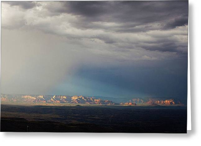 Greeting Card featuring the photograph Red Rock Monsoon by Ron Chilston