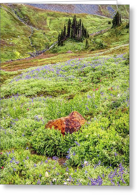 Greeting Card featuring the photograph Red Rock Of Rainier by Pierre Leclerc Photography