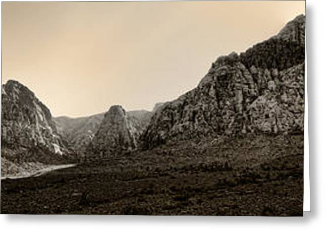 Filter Art Greeting Cards - Red Rock Panorama - Anselized Greeting Card by Ricky Barnard