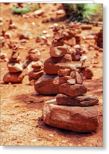 Red Rock Piles Marking Vortex In Sedona Greeting Card