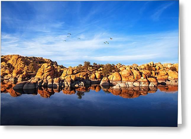 Red Rock Reflection On Arizona Lake Greeting Card by Susan Schmitz