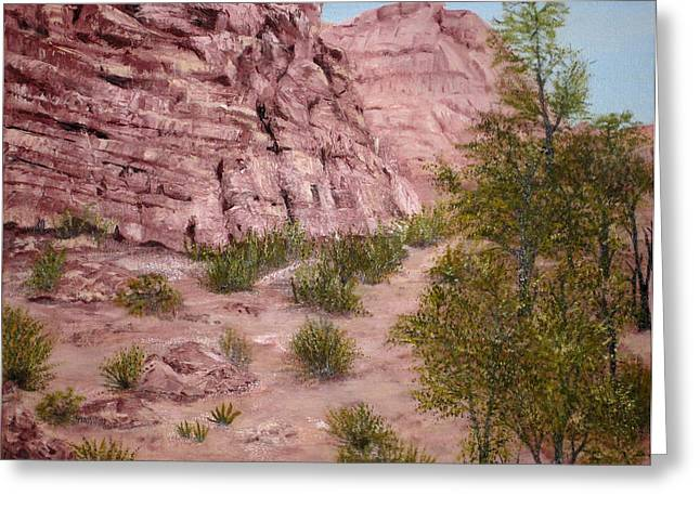 Red Rock Trail Greeting Card by Roseann Gilmore