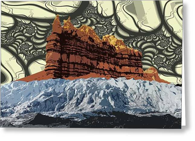 Red Rock White Ice Greeting Card by Ron Bissett