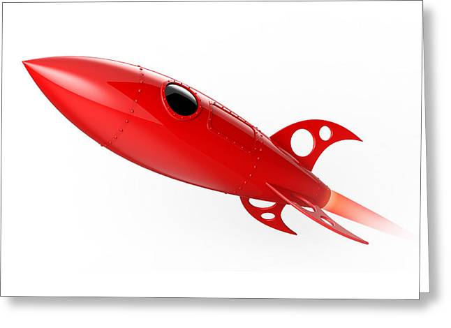 Red Rocket Flying Greeting Card