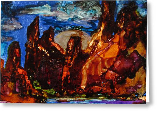 Red Rocks And Silver Moon Greeting Card by Jeanette Skeem