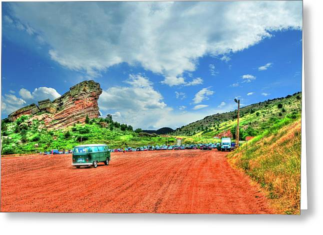 Hippie Volkswagon Greeting Cards - Red Rocks Hippie Van Greeting Card by Randy Aveille
