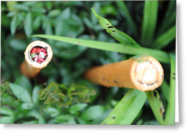 Red Rocks In A Bamboo Stick Greeting Card by Jessica Rose