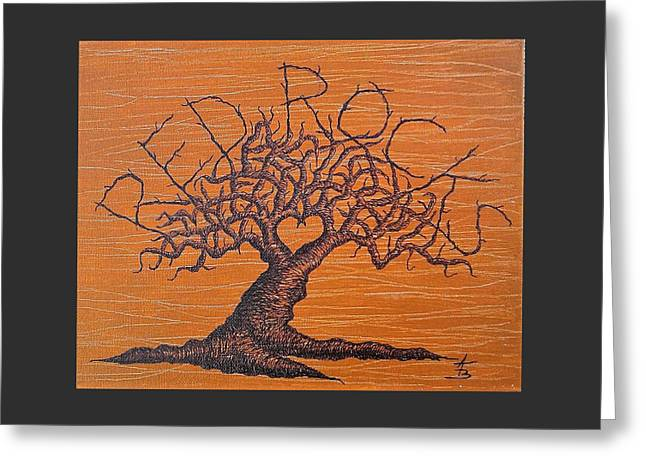 Greeting Card featuring the drawing Red Rocks Love Tree by Aaron Bombalicki