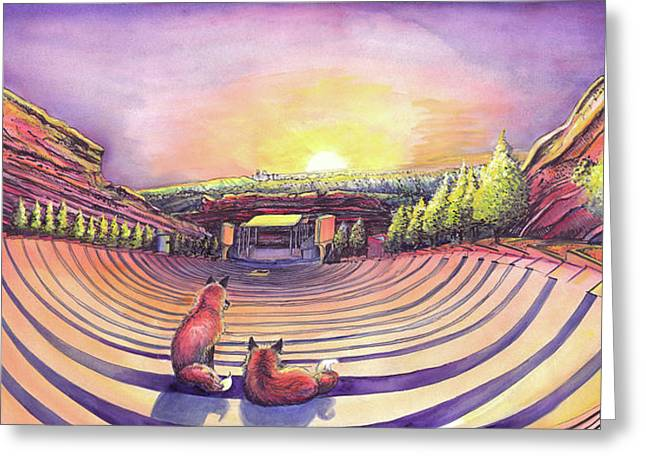 Foxes At Red Rocks Sunrise Greeting Card