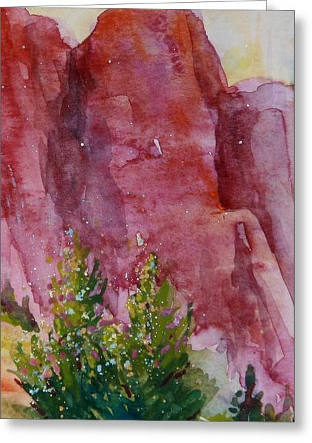 Red Rocks With Two Junipers Greeting Card by Sukey Watson