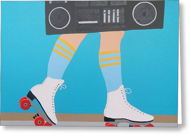 Red Roller With Radio Greeting Card by Ken Pursley