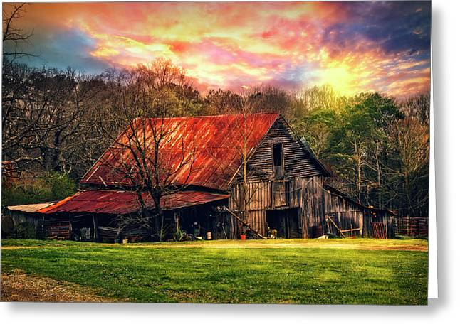Red Roof At Sunset Greeting Card by Debra and Dave Vanderlaan